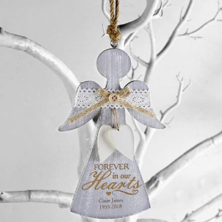 In Loving Memory Wooden Angel Decoration